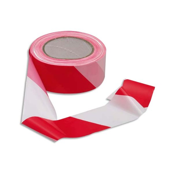 VISO Ruban non adhésif rouge et blanc 100 m x 5 cm