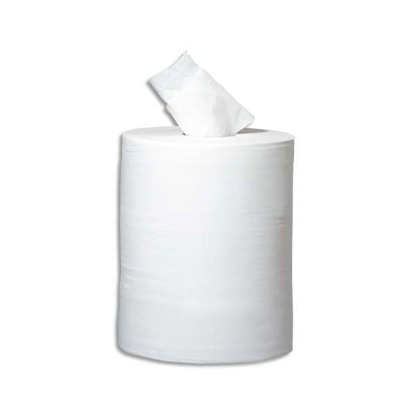 HYGIENE Lot de 6 bobines à dévidage central 450 feuilles 2 plis blanc