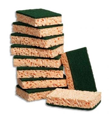 JEX Lot de 10 éponges végétales rectangulaires vert