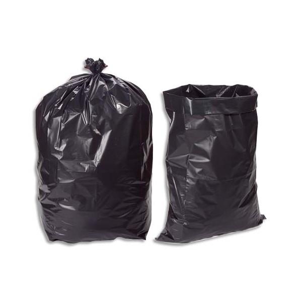 SACS POUBELLES Boîte de 100 sacs poubelle 130 litres noir très résistant 75 microns