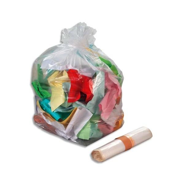 SAC POUBELLES Boîte de 200 Sacs-poubelle transparent qualité NF 110 litres 30 microns