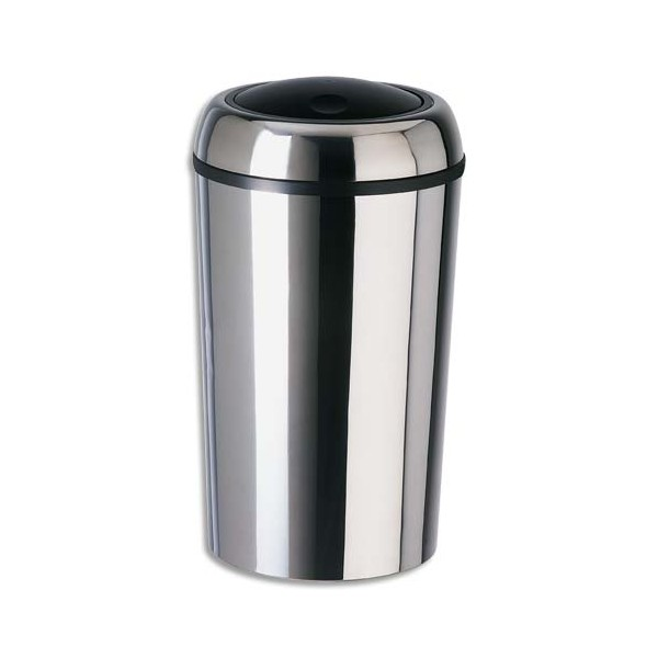 ROSSIGNOL Poubelle Swingy ronde couvercle basculant inox 50 litres
