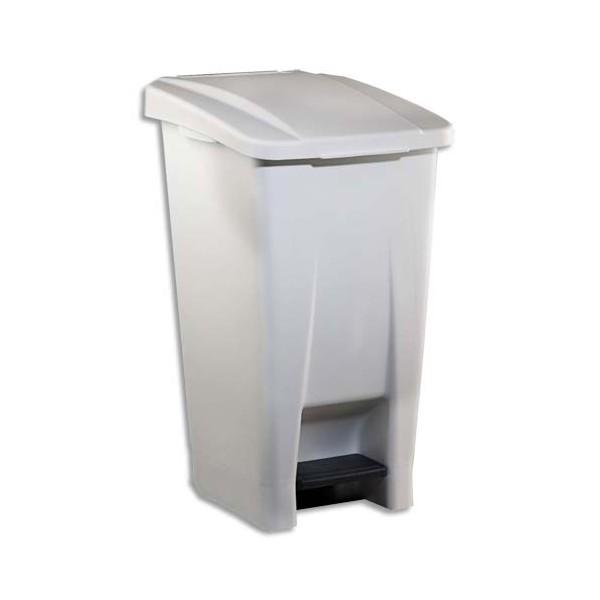 ROSSIGNOL Poubelle mobile Basic à pédale plastique blanc 60 litres