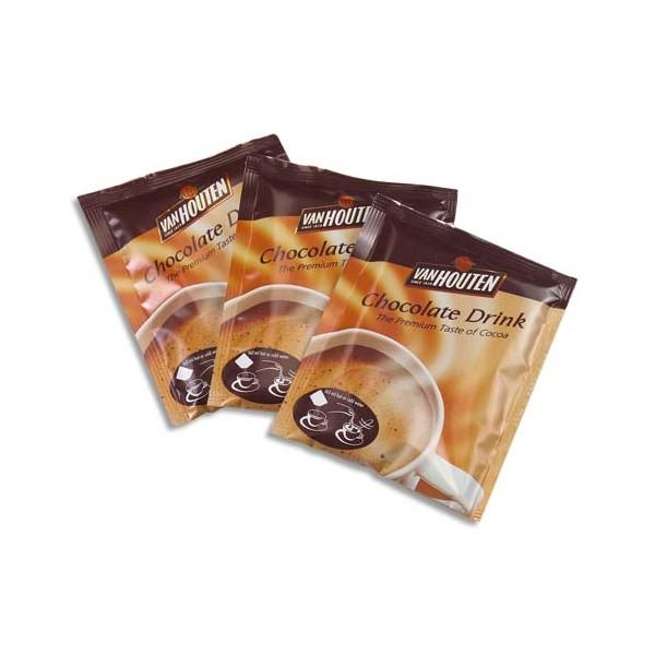 VAN HOUTEN Boîte de 100 dosettes de chocolat de 23g, contient du lait en poudre