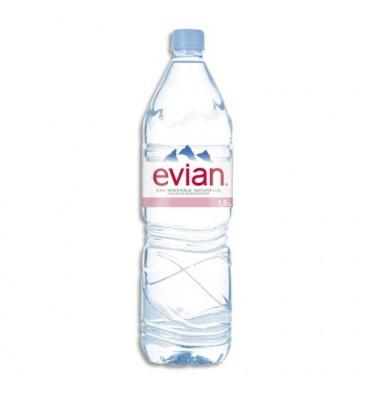 EVIAN Bouteille plastique d'eau de 1,5 litre