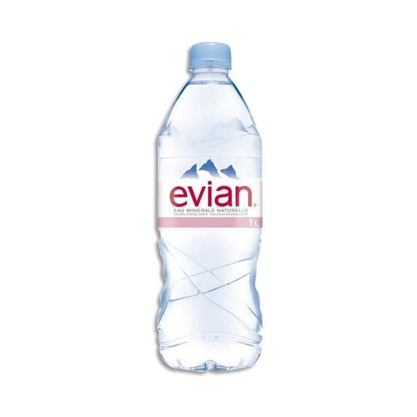 EVIAN Bouteille plastique d'eau de 1 litre (photo)