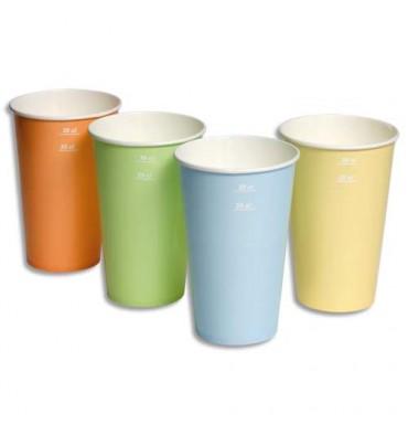 HUHTAMAKI Sachet de 100 gobelets 4 coloris 25cl boissons froides en carton épais