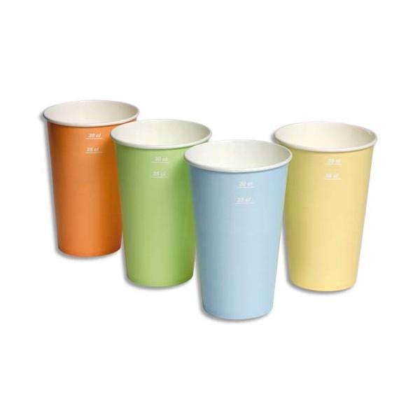 HUHTAMAKI Sachet de 100 gobelets 4 coloris 25cl boissons froides en carton épais (photo)
