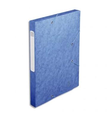 EXACOMPTA Chemise 3 rabats et élastique Cartobox dos de 2,5 cm, en carte lustrée 5/10e bleu