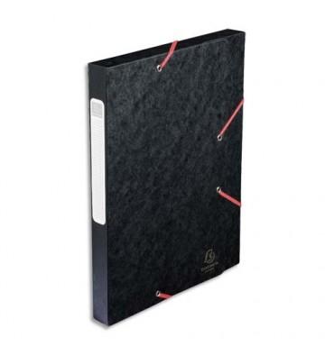 EXACOMPTA Chemise 3 rabats et élastique Cartobox dos de 2,5 cm, en carte lustrée 5/10e noir
