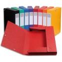 EXACOMPTA Chemise 3 rabats et élastique Cartobox dos de 5 cm, en carte lustrée 5/10e coloris assortis