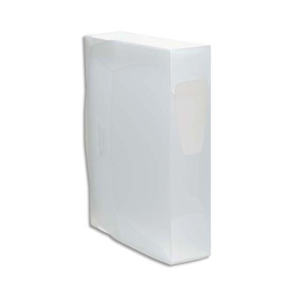 VIQUEL Boîte de classement en polypropylène PROPYSOFT incolore, dos 8 cm, étiquette sur le dos, fermeture par pression