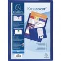 EXACOMPTA Chemise à 2 rabats personnalisable avec une face Kreacover, coloris bleu