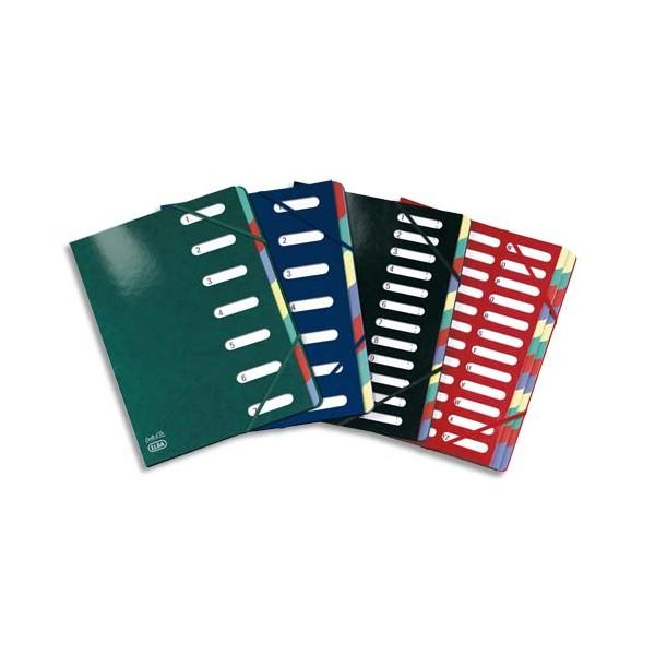 ELBA Trieur Carte d'or 12 compartiments coloris assortis, couverture en carte pelliculée 7/10e (photo)