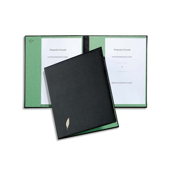 EMEY Parapheur double clip de maintien 1 compartiment couverture noire ouatinée intérieur buvard vert (photo)