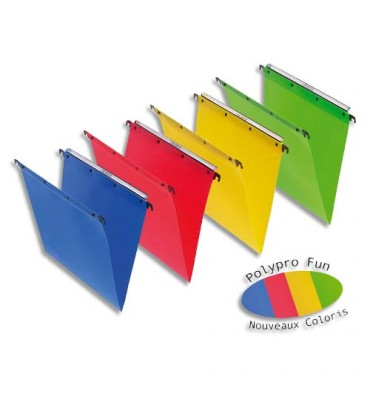 L'OBLIQUE AZ BY ELBA Pack 10 Dossiers suspendus TIROIR en polypropylène opaque. Fond 30 mm. Rouge