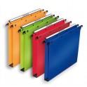 L'OBLIQUE AZ BY ELBA Pack 10 Dossiers suspendus tiroirs en polypropylène opaque. Fond 30 mm, bouton-pression. Assortis