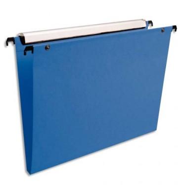 ESSELTE Paquet de 10 dossiers suspendus TIROIR en polypropylène opaque. Fond 15 mm, bouton-pression. Bleu