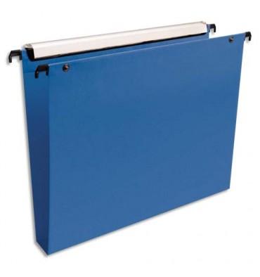 ESSELTE Pack de 10 dossiers suspendus TIROIR en polypropylène opaque. Fond 30 mm, bouton-pression. Bleu