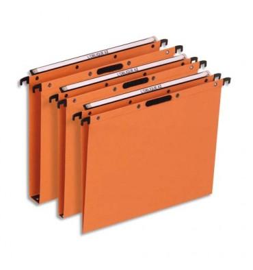 L'OBLIQUE AZ BY ELBA Boîte de 25 dossiers suspendus TIROIR en kraft 240g. Fond V, Velcro. Orange