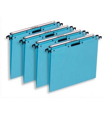 L'OBLIQUE AZ BY ELBA Boîte de 25 dossiers suspendus TIROIR en kraft 240g. Fond V, bouton-pression. Bleu