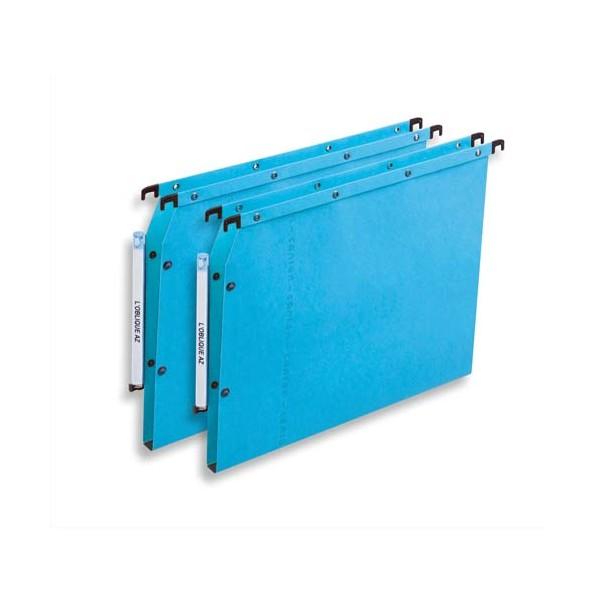 L'OBLIQUE AZ BY ELBA Boîte de 25 dossiers suspendus ARMOIRE en kraft 240g. Fond 30 mm, bouton-pression. Bleu
