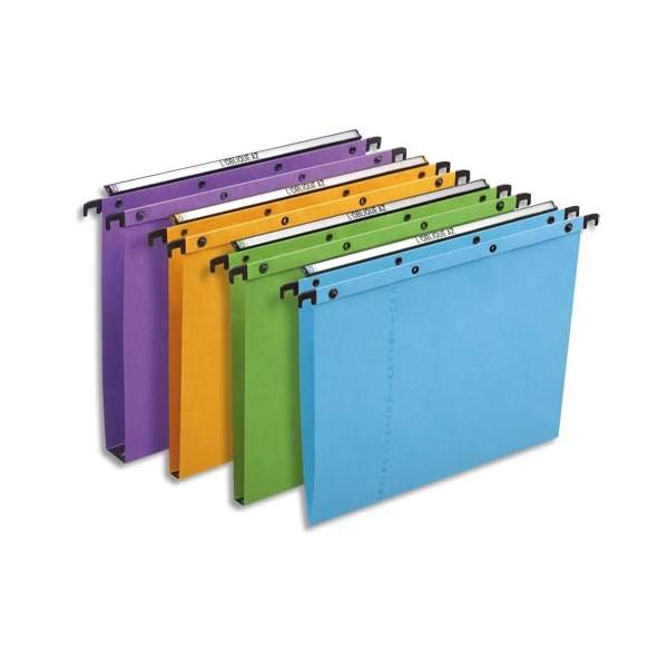 L'OBLIQUE AZ BY ELBA Boîte de 25 dossiers suspendus tiroirs AZO fond V couleurs assortis