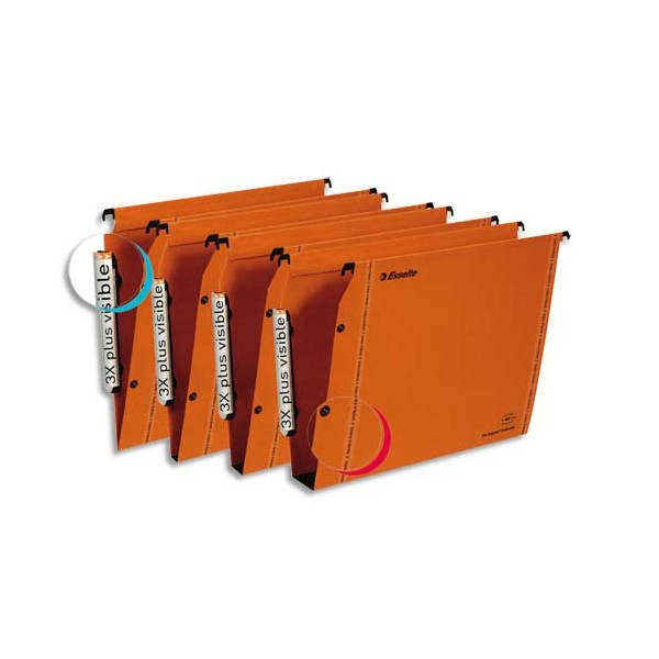 ESSELTE Boîte de 25 dossiers suspendus ARMOIRE en kraft 240g. Fond 30 mm, bouton-pression. Orange