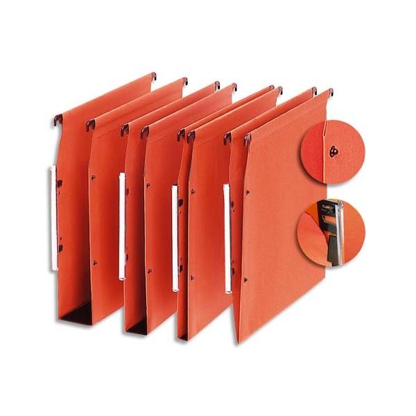 5 ETOILES Boîte de 25 dossiers suspendus ARMOIRE en kraft 220g. Fond V, volet agrafage + pression. Orange (photo)
