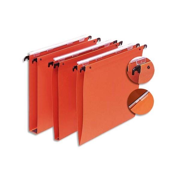 5 ETOILES Boîte de 25 dossiers suspendus TIROIR en kraft 220g. Fond 15 mm, volet agrafage + pression. Orange (photo)