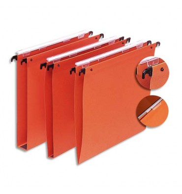 5 ETOILES Boîte de 25 dossiers suspendus TIROIR en kraft 220g. Fond 30 mm, volet agrafage + pression. Orange