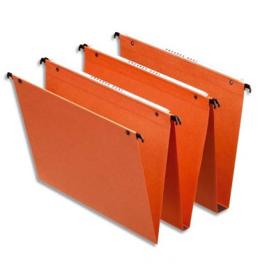 ESSELTE Boîte de 25 dossiers suspendus DUAL TIROIR en kraft 240g. Fond 15 mm, volet agrafage. Orange