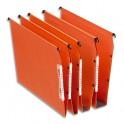 ESSELTE Boîte de 25 dossiers suspendus DUAL ARMOIRE en kraft 240g. Fond 50 mm, volet agrafage. Orange