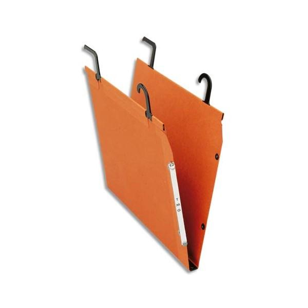 ESSELTE Boîte de 25 dossiers TMG pour TUBE en kraft 240g. Fond V, bouton-pression. Orange