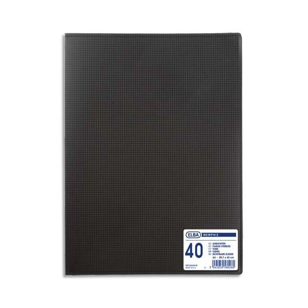 OXFORD Protège-documents en polypropylène format A3, 40 vues 20 pochettes, coloris noir