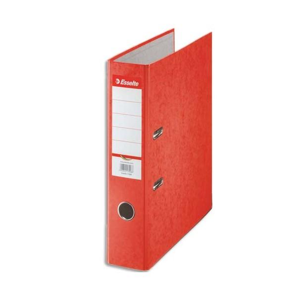 ESSELTE Classeur à levier papier couleur Rainbow dos de 8 cm rouge