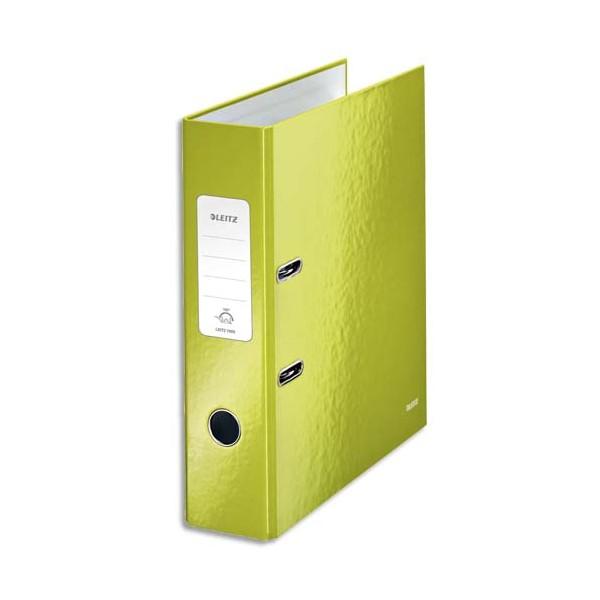 LEITZ Classeur à levier 180° WOW, dos 8 cm, en carton pelliculé intérieur et extérieu