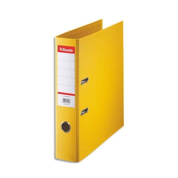 ESSELTE Classeur à levier à dos de 7,5 cm plastifié intérieur et extérieur jaune