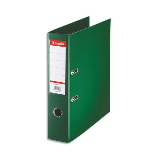 ESSELTE Classeur à levier à dos de 7,5 cm plastifié intérieur et extérieur vert