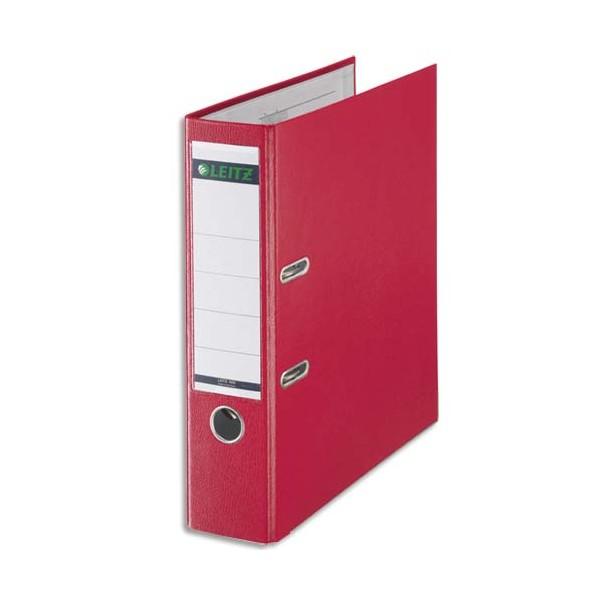 LEITZ Classeur à levier 180 degrés en carton rembordé de polypropylène dos 8 cm coloris rouge