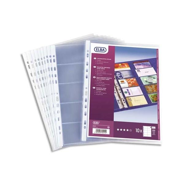ELBA Sachet de 10 pochettes perforées PVC pour cartes de visite