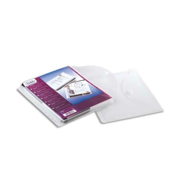 ELBA Sachet de 10 pochettes enveloppes perforées en polypropylène A4 transparente, ferme