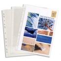 EXACOMPTA Boîte de 100 pochettes perforées en PVC 8/100ème renforcée à 9 trous