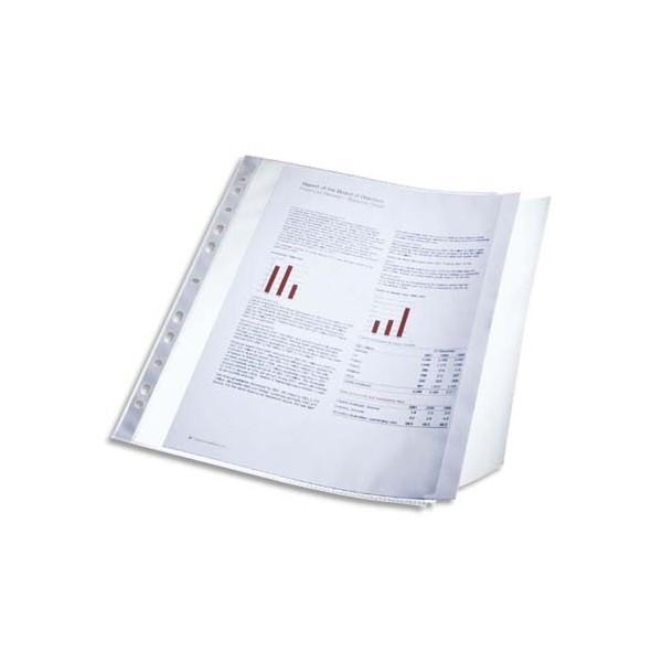 ESSELTE Sachet 10 pochettes perforées rabat latéral transparent, perforation 11 trous