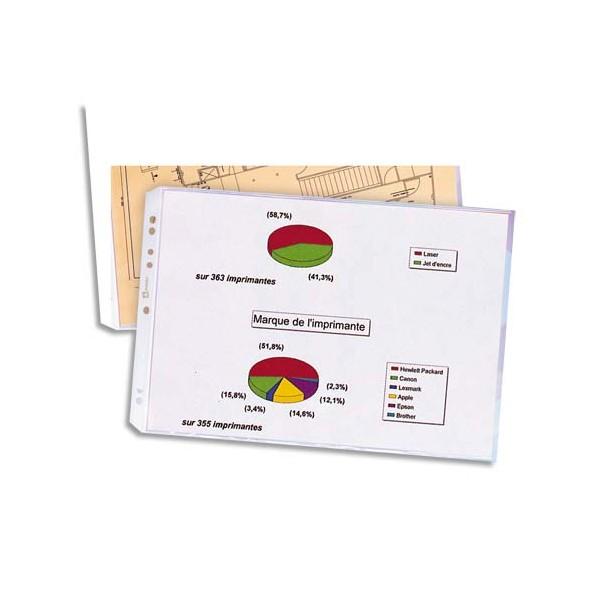 ELBA Sachet de 10 pochettes format A3 à ouverture en coin en polypropylène 9/100e, perfo