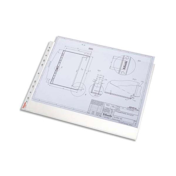 ESSELTE Boîte 50 pochettes perforées A3 paysage grainées, perforation universelle 11 tr