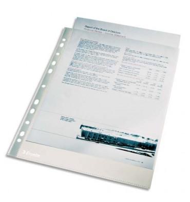 ESSELTE Sachet de 100 pochettes perforées A4 en polypropylène lisse 4/100e incolore