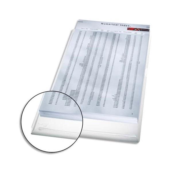 LEITZ Sachet de 5 pochettes coins en PVC 17/100e avec soufflet de 2 cm incolore