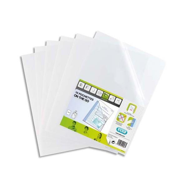 ELBA Sachet de 10 pochettes-coin ON-THE-GO en polypropylène 12/100ème, format A4 incolor