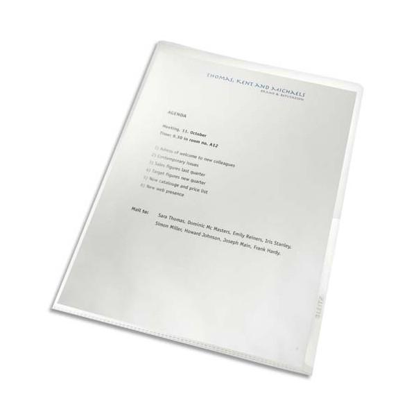 LEITZ Boîte de 100 pochettes coin en polypropylène 13/100e, 100% Recyclées, coloris tra